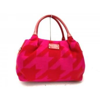 【中古】 ケイトスペード ハンドバッグ 美品 WKRU1353 レッド ピンク ウール エナメル(レザー)