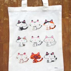 日本猫の手描きトートバッグ
