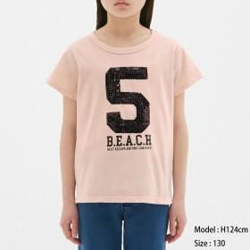 (GU)GIRLSスパンコールナンバーT(半袖) PINK 120