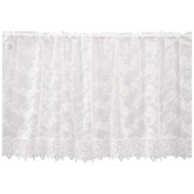 川島織物セルコン チュールエンブロイダリー カフェカーテン 137×60cm DW1305 W ホワイト