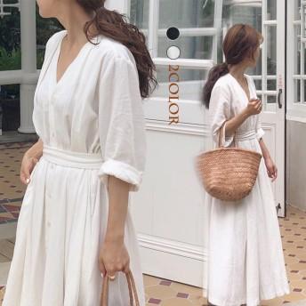 2019韓国ファッション 春のシャツワンピース ボディラインがキレイに見える美シルエットフレアワンピ
