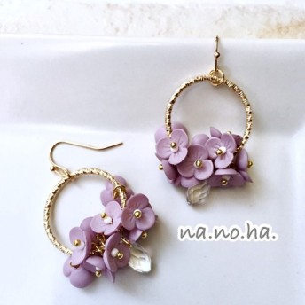 紫陽花のリースピアス(パープル)