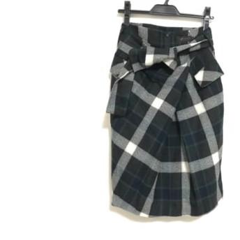 【中古】 トゥモローランド スカート サイズ38 M レディース 美品 ダークグレー ネイビー マルチ
