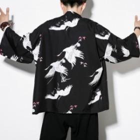 メンズ   甚平   ジャケット   アウター    和装  部屋着   刺繍   羽織  浴衣風男性 着物  復古  カジュアル