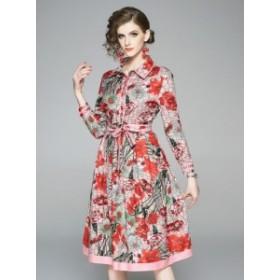 クラシック ドレス シャツ リボン ワンピース ローズクローゼット*韓国新作*