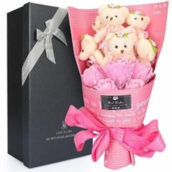 ソープフラワー ベア 花 (ベア6匹,花5匹) 造花 花束くま束 母の日 可愛いぬいぐるみ 石鹸 結婚 YOBANSA 誕生日