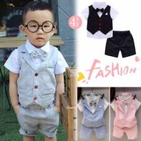 dc82b3522157e 子供服 ベスト 男の子 ポロシャツ 3点セット 発表会 フォーマル 半袖 半ズボン 演出服