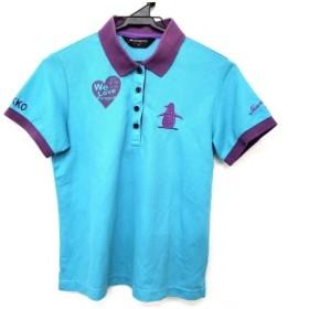 【中古】 マンシングウェア Munsingwear 半袖ポロシャツ サイズM レディース ライトグリーン パープル