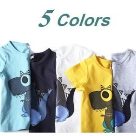子ども用Tシャツトップスカットソー半袖子ども服ベビーキッズ春夏プリント恐竜動物アニマルオシャレかっこいいカジュアル可