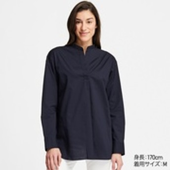 エクストラファインコットンスタンドカラーシャツ(長袖)