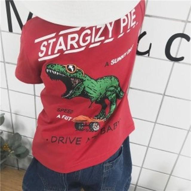 Tシャツベビーキッズ男の子女の子クルーネック半袖トップスカットソー恐竜ロゴプリントカジュアルかわいいおしゃれ80cm9