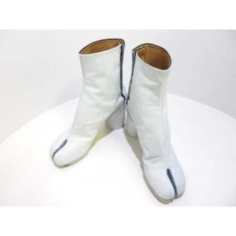 【中古】 メゾンマルジェラ ショートブーツ 36 レディース 美品 タビ ブーツ S58WU0161 白 レザー