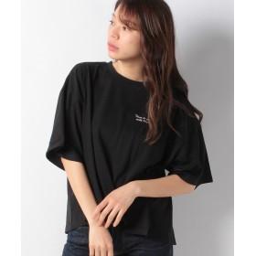 【56%OFF】 グリーンパークス 胸元ロゴワイドTシャツ レディース ブラック F 【Green Parks】 【タイムセール開催中】