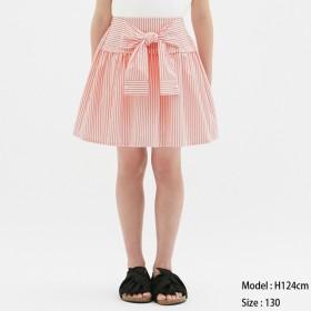 (GU)GIRLSストライプシャツスカート ORANGE 110