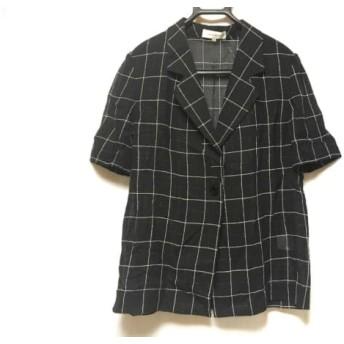 【中古】 ラピーヌルージュ ジャケット サイズ15 L レディース 美品 黒 白 チェック柄/ラメ/シースルー