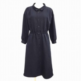 【中古】ショコラフィネローブ chocol raffine robe ワンピース シャツ ロング 長袖 F 紺 ネイビー MCK レディース
