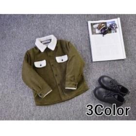 コーデュロイシャツ長袖シャツ裏ボアトップス秋冬子供服無地暖かいあったかい防寒対策ライトアウタージャケット羽織り上着前開き