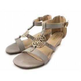 神戸レタス KOBE LETTUCE ミュール サンダル ウェッジソール ローヒール ストラップ ライトグレー L 約23.5cm 靴