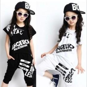 2点セットキッズヒップホップダンス衣装ダンスウェア子供用男の子女の子tシャツサルエルパンツジュニアジャージセットアップHIPHOP