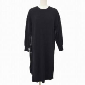 【中古】ショコラフィネローブ chocol raffine robe ワンピース ニット ロング 長袖 F 黒 ブラック MCK レディース