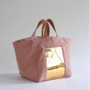 square canvas totebag (coral)