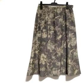 【中古】 レリアン ロングスカート サイズ13 L レディース 美品 ダークブラウン ベージュ マルチ 花柄