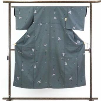 【中古】リサイクル着物 紬 / 正絹黒地白絣袷紬着物 / レディース【裄Sサイズ】