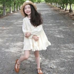 ワンピースキッズ女の子ジュニア子供服長袖シンプル無地白フレアフリル可愛いおしゃれ大人上品0