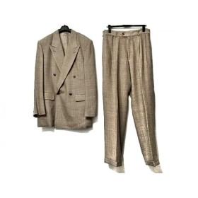 【中古】 ムッシュニコル ダブルスーツ サイズ50 メンズ ベージュ ダークグレー チェック柄