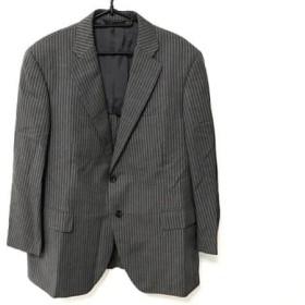 【中古】 ダーバン DURBAN シングルスーツ メンズ グレー 黒 白 ストライプ/イニシャル刺繍