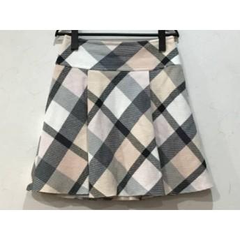 【中古】 ブルーレーベルクレストブリッジ スカート サイズ38 M レディース 美品 白 ベージュ 黒