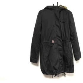 【中古】 ロデオクラウンズ RODEOCROWNS コート サイズ2 M レディース 黒 冬物/裏ボア/豹柄