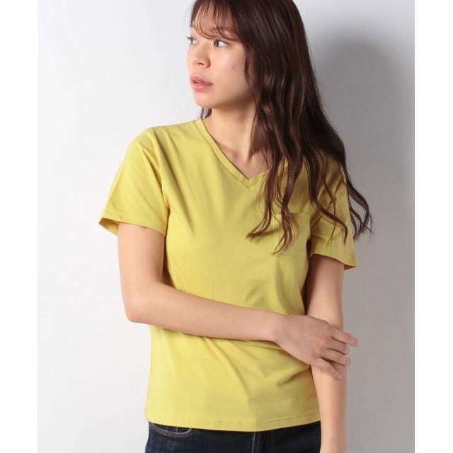 【50%OFF】 コエ Vネックポケット付きTシャツ レディース イエロー S 【koe】 【セール開催中】
