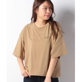 【63%OFF】 グリーンパークス 胸元ロゴワイドTシャツ レディース ベージュ F 【Green Parks】 【タイムセール開催中】