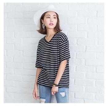 ユメテンボウ 夢展望 胸ポケットTシャツ (ブラックボーダー(Vネック))