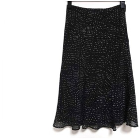 【中古】 ニジュウサンク 23区 スカート サイズ36 S レディース 黒 ライトグレー ドット柄