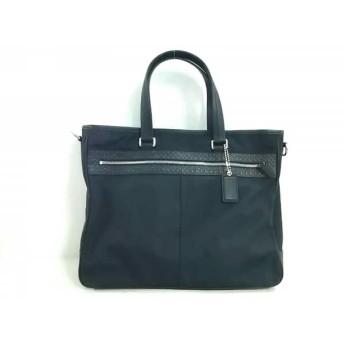 【中古】 コーチ COACH ビジネスバッグ 美品 - F70595 黒 ナイロン レザー