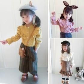 ブラウスフリル長袖ボタンコーデュロイ女の子女児ベビー用ベビー子供用こども子供服キッズ用キッズ可愛いかわいい秋冬イエロ
