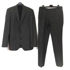 【中古】 コムサイズム シングルスーツ サイズM メンズ 美品 ダークグレー グレー ストライプ