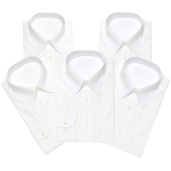 レギュラー衿ワイシャツ白 5枚3000円均一セット(メンズ) 白5枚セット