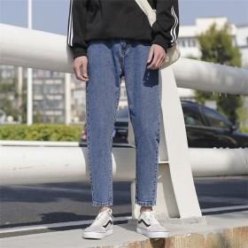 [55555SHOP]韓国ファッション 新品 大人気 デニムパンツ メンズパンツ 学生 ストレッチパンツ 9分丈