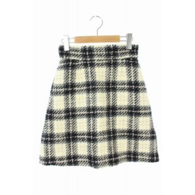【中古】ジルバイジルスチュアート JILL by JILLSTUART 17AW スカート ツイード 台形 膝丈 チェック S 黒 白 レディース