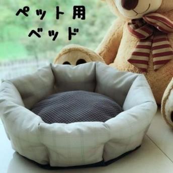 ペット用 犬猫兼用 ラウンドベッド カドラー マット クッション ふかふか 寝床 寝具 チェック柄 直径約45cm 円形 丸型