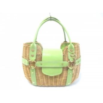 【中古】 サマンサタバサ ハンドバッグ 美品 ブラウン ライトグリーン かごバッグ ラタン 合皮