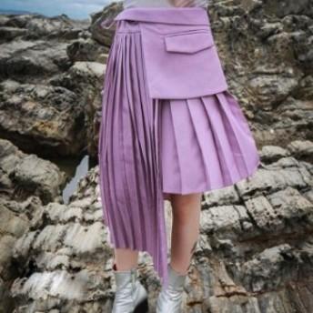レディース スカート アシンメトリー レイヤード プリーツスカート ミディアム丈 ブラック パープル 個性的 お出かけ
