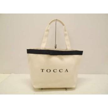 【中古】 トッカ TOCCA トートバッグ アイボリー 黒 キャンバス 化学繊維
