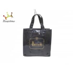 ハロッズ HARRODS トートバッグ 黒×ゴールド PVC(塩化ビニール)  値下げ 20190725