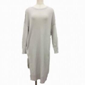【中古】ショコラフィネローブ chocol raffine robe ワンピース ニット ロング 長袖 F グレー MCK レディース