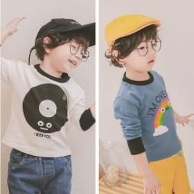 Tシャツ長袖ラウンドネックカットソープリントTシャツ子供用トップス春レコード柄虹英語可愛いかわいいおしゃれ女の子男の子