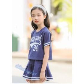 2点セット子供服 セットアップ キッズ 女の子 tシャツ スカート カジュアル 可愛い ホワイト ブルー120 130 140 150 160 170